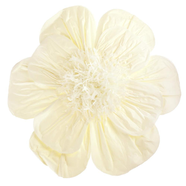 Paper Scalloped Magnolia Wall Flower, Ivory, 20-Inch