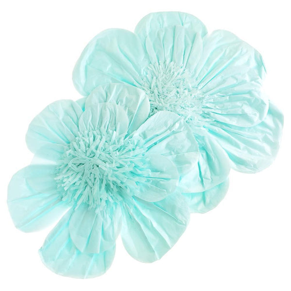 Paper Scalloped Magnolia Wall Flower, Blue, Assorted Sizes, 2-Piece