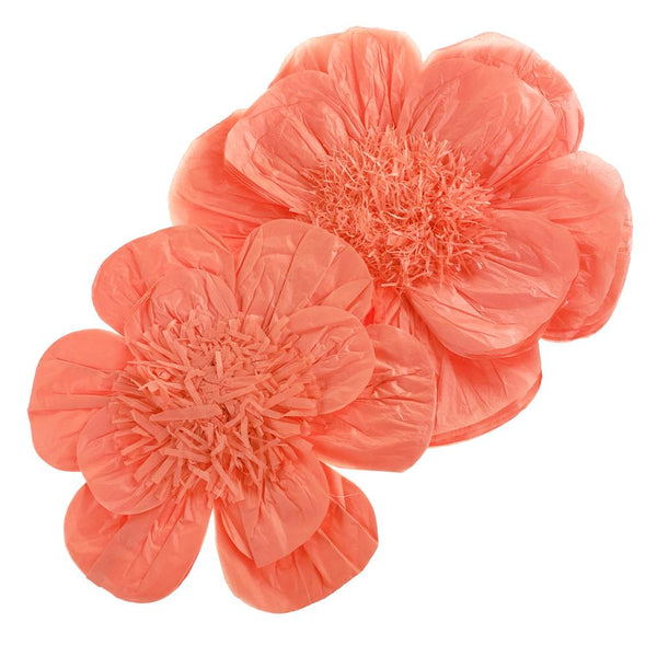 Paper Scalloped Magnolia Wall Flower, Coral, Assorted Sizes, 2-Piece