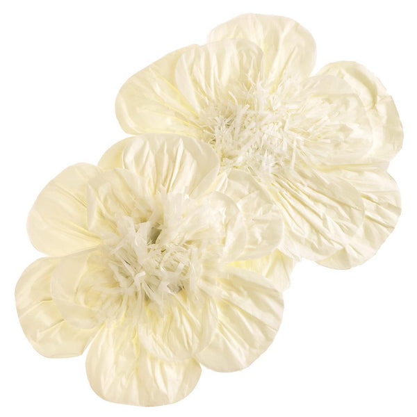 Paper Scalloped Magnolia Wall Flower, Ivory, Assorted Sizes, 2-Piece