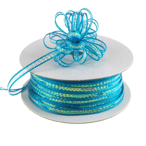 Iridescent Pull Bow Christmas Ribbon, 1/8-Inch, 50 Yards, Turquoise