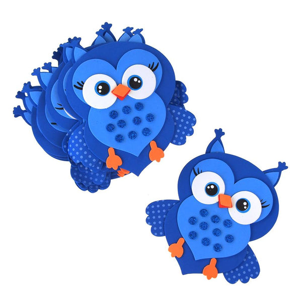Foam Owl Animal Cutouts with Glitter, Blue, 7-1/2-Inch, 10-count