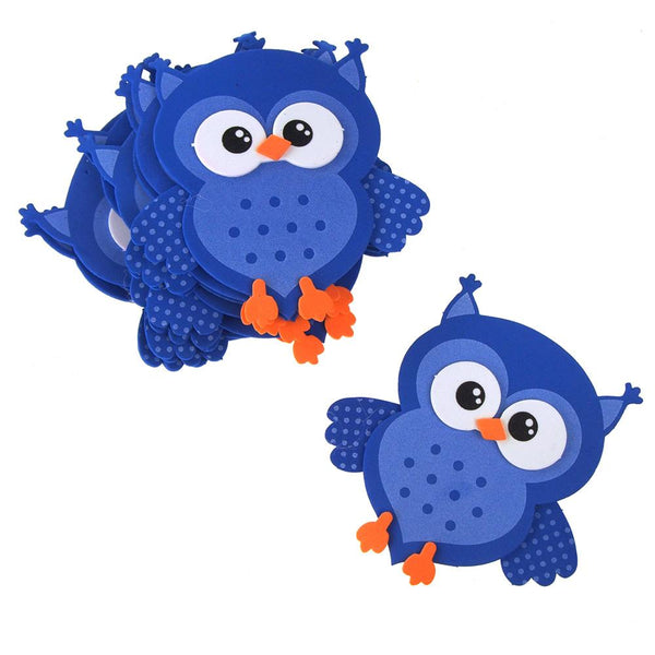 Foam Owl Animal Cutouts, Blue, 4-Inches, 10-count
