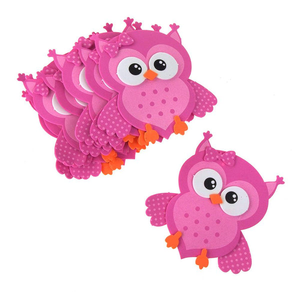 Foam Owl Animal Cutouts, Pink, 4-Inches, 10-count