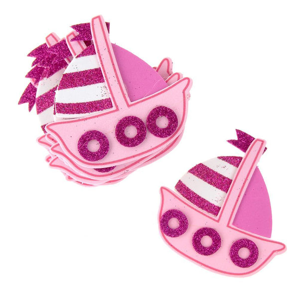 Foam Sailboat Cutouts with Glitter, Pink,  3-1/4-Inch, 10 Count
