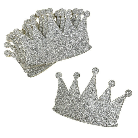 Glitter Foam Crown Cut-Outs, Silver, 4-1/2-Inch, 10-Count