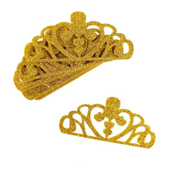 Glitter Foam Tiara Crown Cut-Outs, Gold, 3-Inch, 10-Count