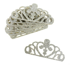 Glitter Foam Tiara Crown Cut-Outs, Silver, 3-Inch, 10-Count