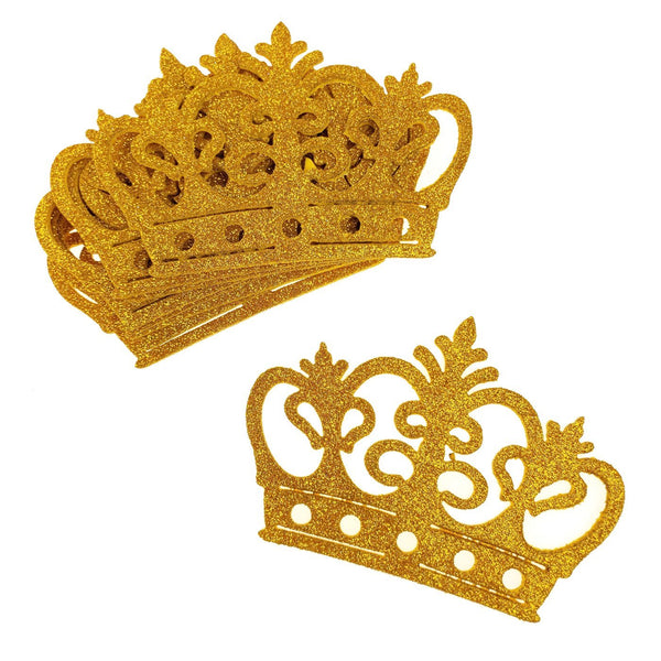 Glitter Foam Royal Crown Cut-outs, Gold, 4-3/4-Inch, 10-Count