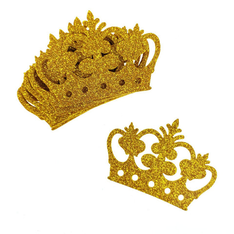 Glitter Foam Royal Crown Cut-outs, Gold, 2-3/4-Inch, 10-Count