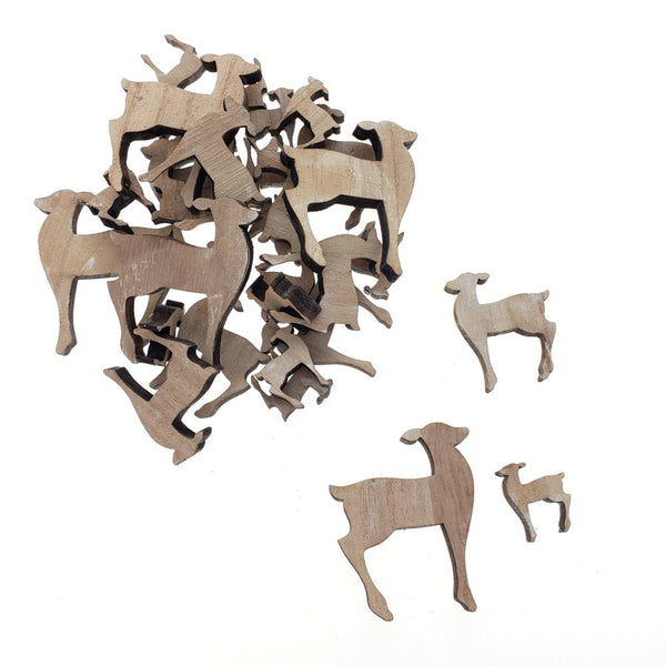 Christmas Deer Wooden Cutouts, 3 Sizes, 30-Piece