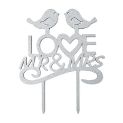 Mr. & Mrs. Love Birds Glitter Wedding Cake Topper, 7-1/2-Inch, Silver