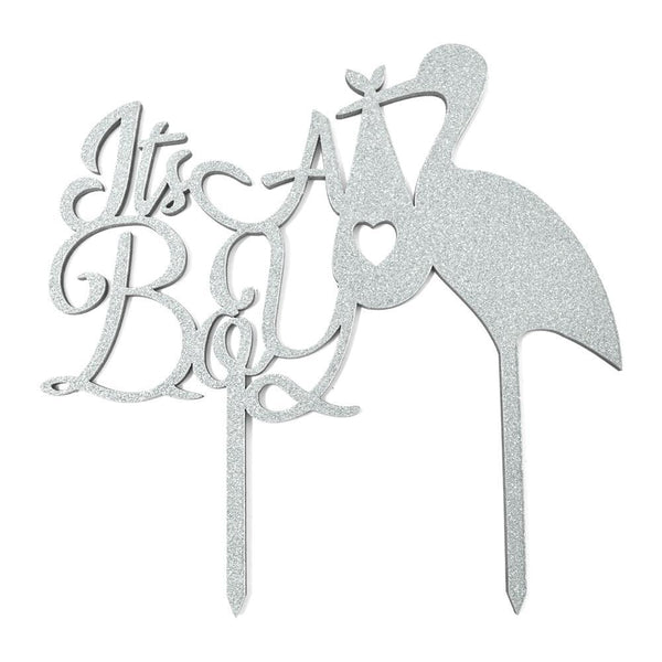 It's A Boy Baby Shower Glitter Cake Topper, 6-1/2-Inch, Silver
