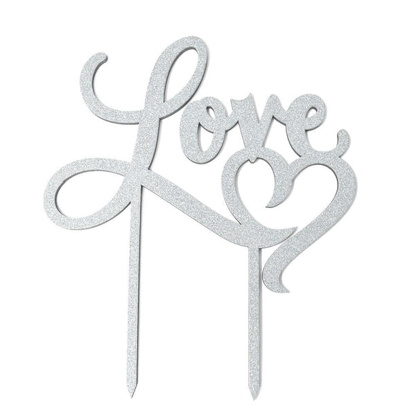 Love Heart Wedding Glitter Cake Topper, 7-Inch, Silver