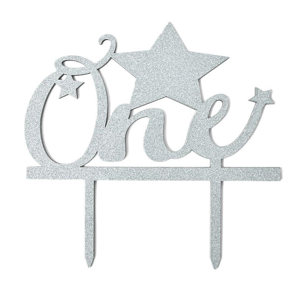 Baby's First Birthday One Glitter Cake Topper, 6-Inch, Silver