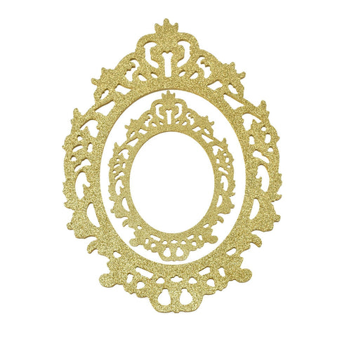 Glitter Antique Style Wooden Oval Frame Set, Assorted Sizes, 2-Piece, Gold