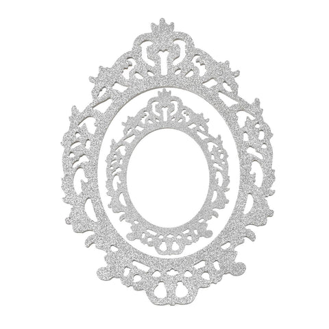 Glitter Antique Style Wooden Oval Frame Set, Assorted Sizes, 2-Piece, Silver