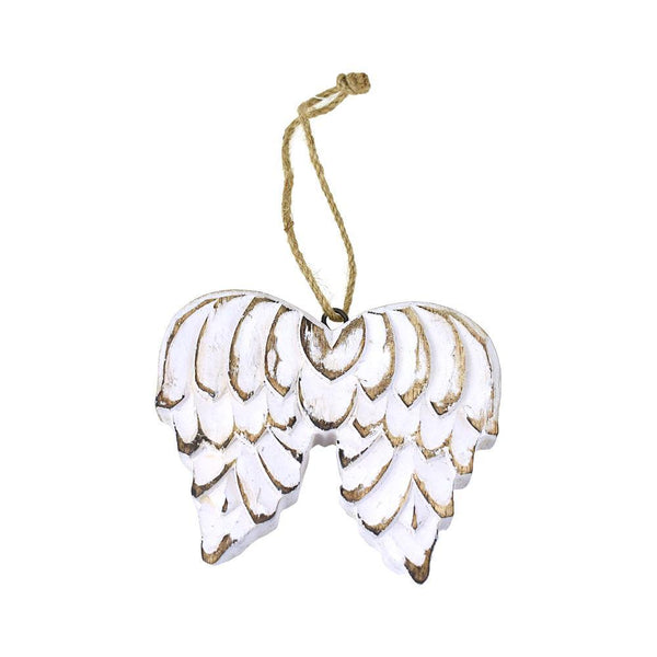 Wooden Wings Christmas Ornament, White Wash, 4-1/2-Inch