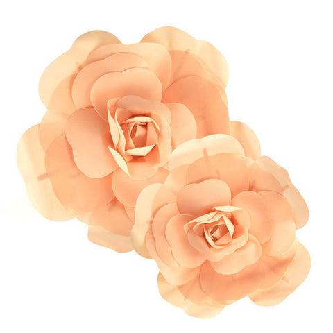 Rose Foam Wall Flowers, Peach, Assorted Sizes, 2 Piece