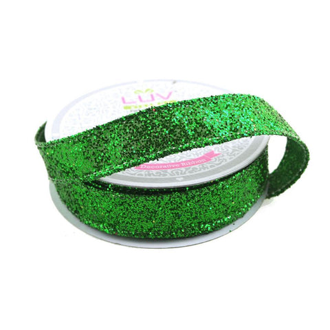 Sparkling Glitter Holiday Christmas Ribbon Wired Edge, 5/8-Inch, 10 Yards, Emerald Green