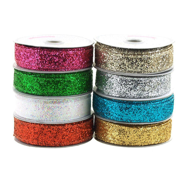 Sparkling Glitter Holiday Christmas Ribbon Wired Edge, 5/8-Inch, 10 Yards