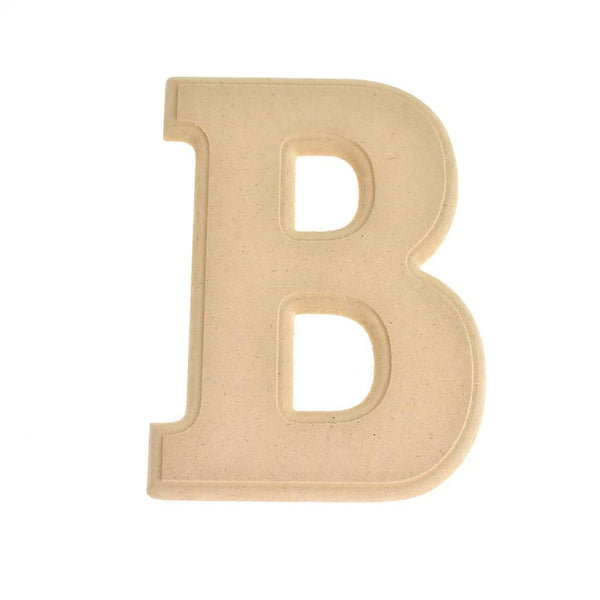 Pressed Board Beveled Wooden Letter B, Natural, 6-Inch