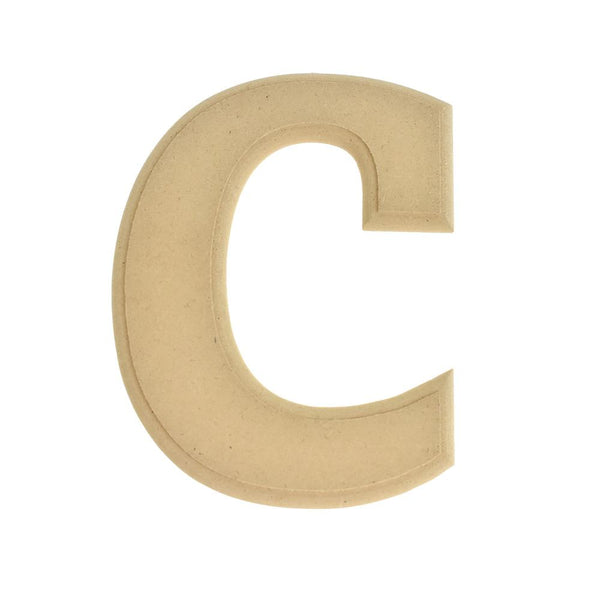 Pressed Board Beveled Wooden Letter C, Natural, 6-Inch