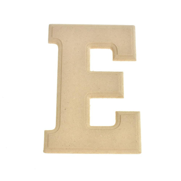 Pressed Board Beveled Wooden Letter E, Natural, 6-Inch