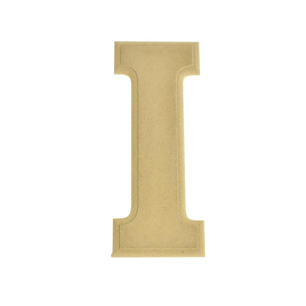 Pressed Board Beveled Wooden Letter I, Natural, 6-Inch