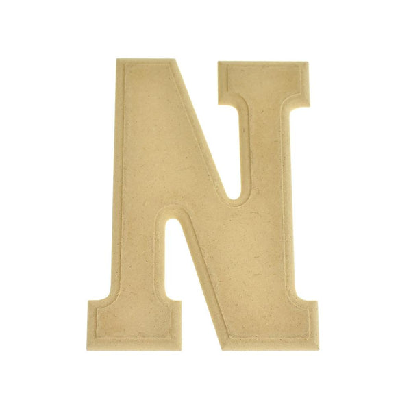 Pressed Board Beveled Wooden Letter N, Natural, 6-Inch