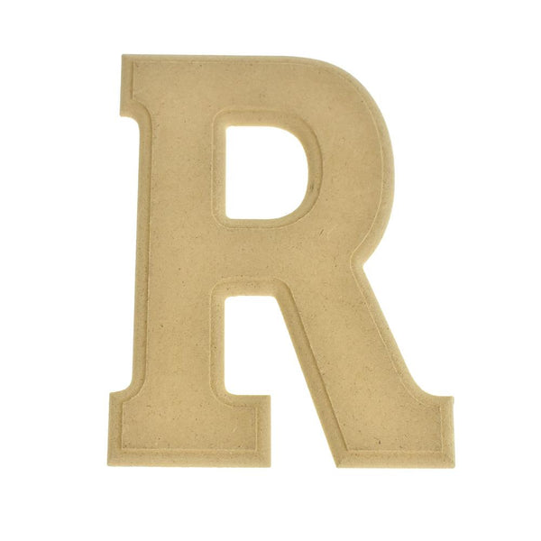 Pressed Board Beveled Wooden Letter R, Natural, 6-Inch
