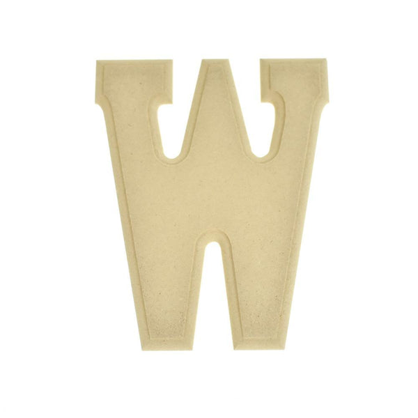 Pressed Board Beveled Wooden Letter W, Natural, 6-Inch