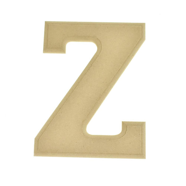 Pressed Board Beveled Wooden Letter Z, Natural, 6-Inch