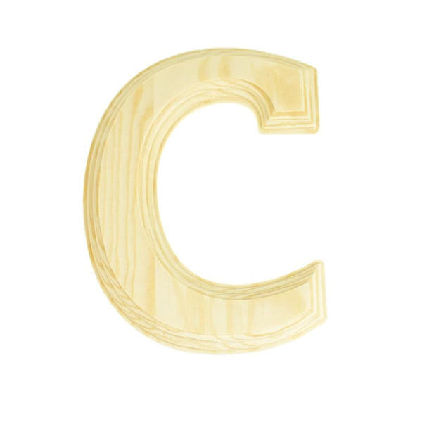Pine Wood Beveled Wooden Letter C, Natural, 5-13/16-Inch
