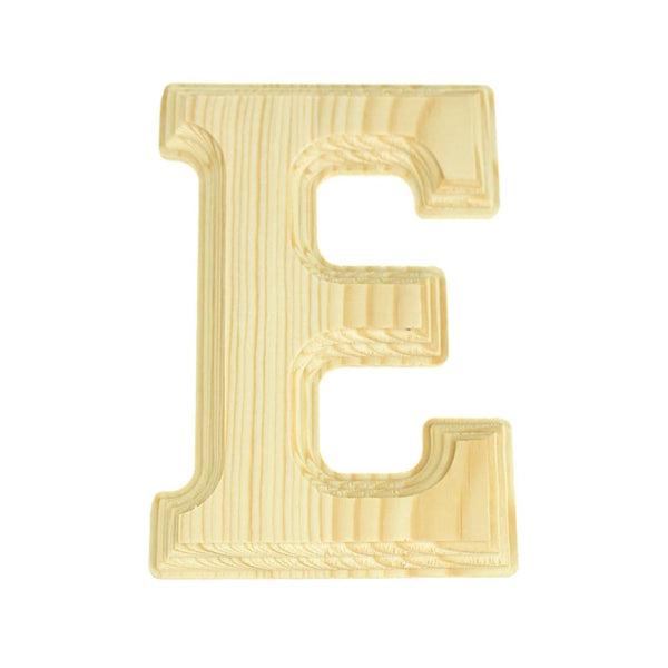 Pine Wood Beveled Wooden Letter E, Natural, 5-13/16-Inch