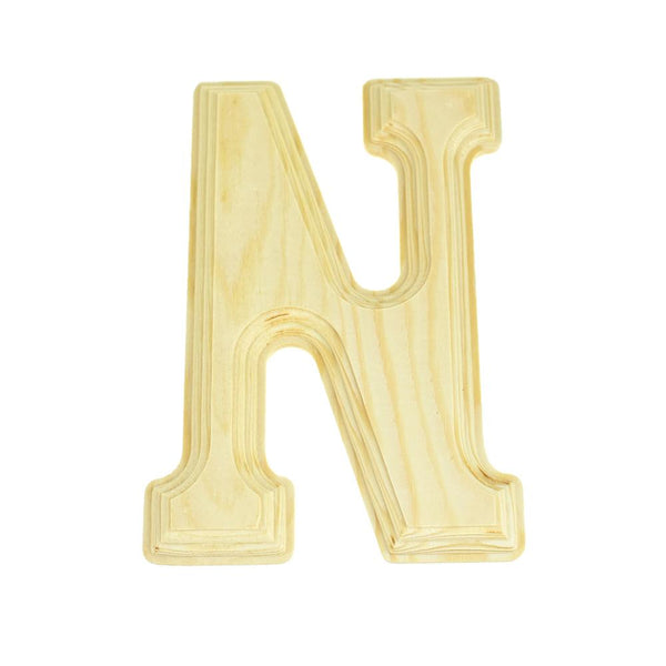 Pine Wood Beveled Wooden Letter N, Natural, 5-13/16-Inch