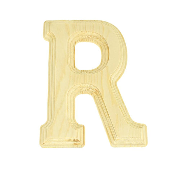 Pine Wood Beveled Wooden Letter R, Natural, 5-13/16-Inch