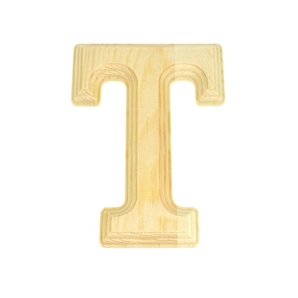 Pine Wood Beveled Wooden Letter T, Natural, 5-13/16-Inch