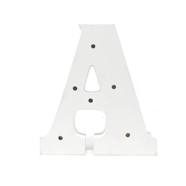 LED Wood Letter A, White, 6-1/4-Inch