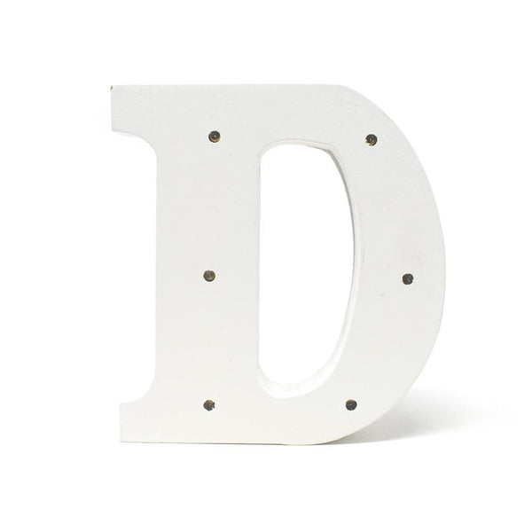 LED Wood Letter D, White, 6-1/4-Inch