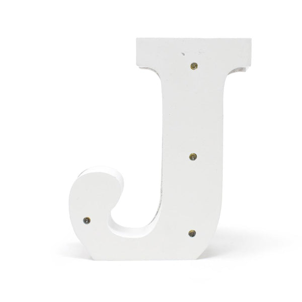 LED Wood Letter J, White, 6-1/4-Inch
