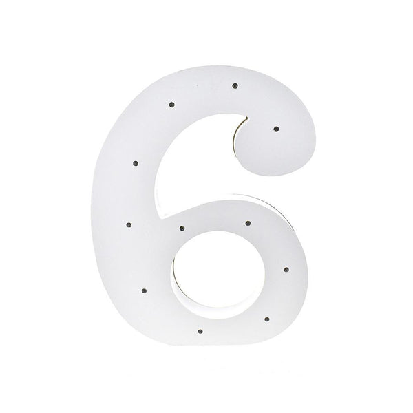 Wooden LED Number 6, White, 11-1/2-Inch