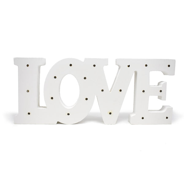 LED Wood Love Table Top Sign, White, 13-1/2-Inch