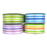 Colorful Ric Rac Printed Wired Ribbon, 1-1/2-Inch, 10-Yard