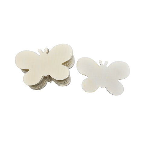 Craft Wood Butterflies, Natural, 8cm or 3-1/8-Inch, 12-Count