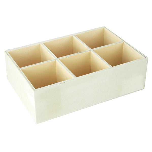 Desk Caddy 6-Compartment Wooden Box, 8-Inch