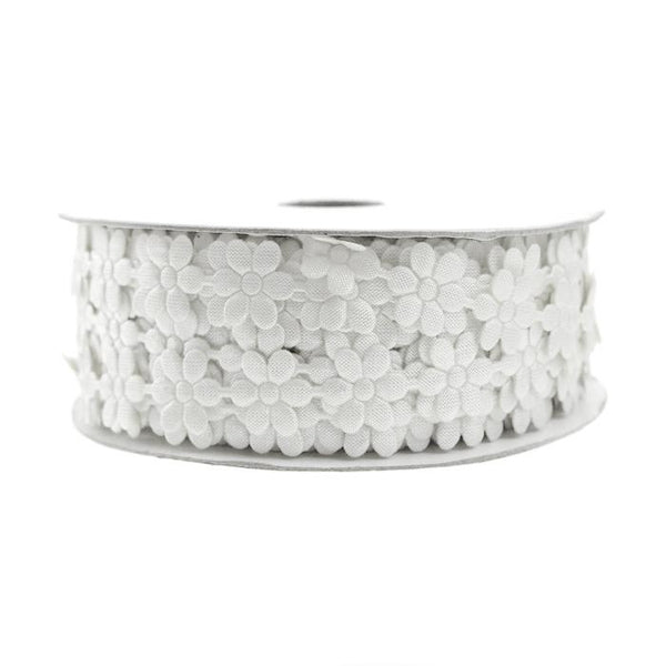 Polyester Flower Garland Ribbon, 3/8-Inch, 25-Yard, White