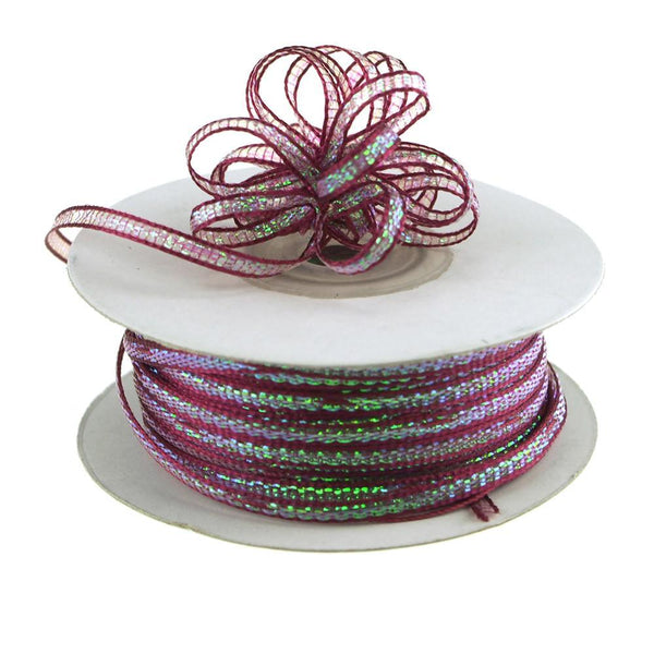 Iridescent Pull Bow Christmas Ribbon, 1/8-Inch, 50 Yards, Wine