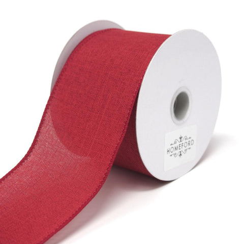 Canvas Ribbon Wired Edge, Red, 2-1/2-Inch, 10 Yards