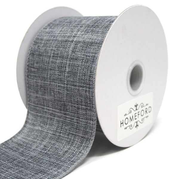 Canvas Ribbon Wired Edge, Grey, 2-1/2-Inch, 10 Yards